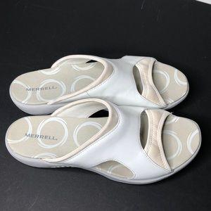Merrill white leather/neoprene slides sandals 11